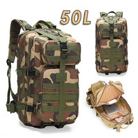 50L Waterproof Climbing Hiking Military Tactical Backpack Bag Camping Mountaineering Outdoor Sport Molle 3P Bag