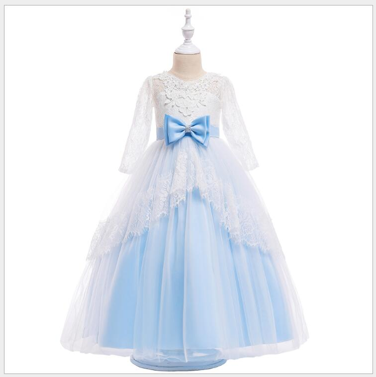 teenager girl ice blue lace sleeve party dress victory fashion flower girls tiered maxi dress baby girls v-neck birthday vestido floral printed split delightful v neck maxi dress