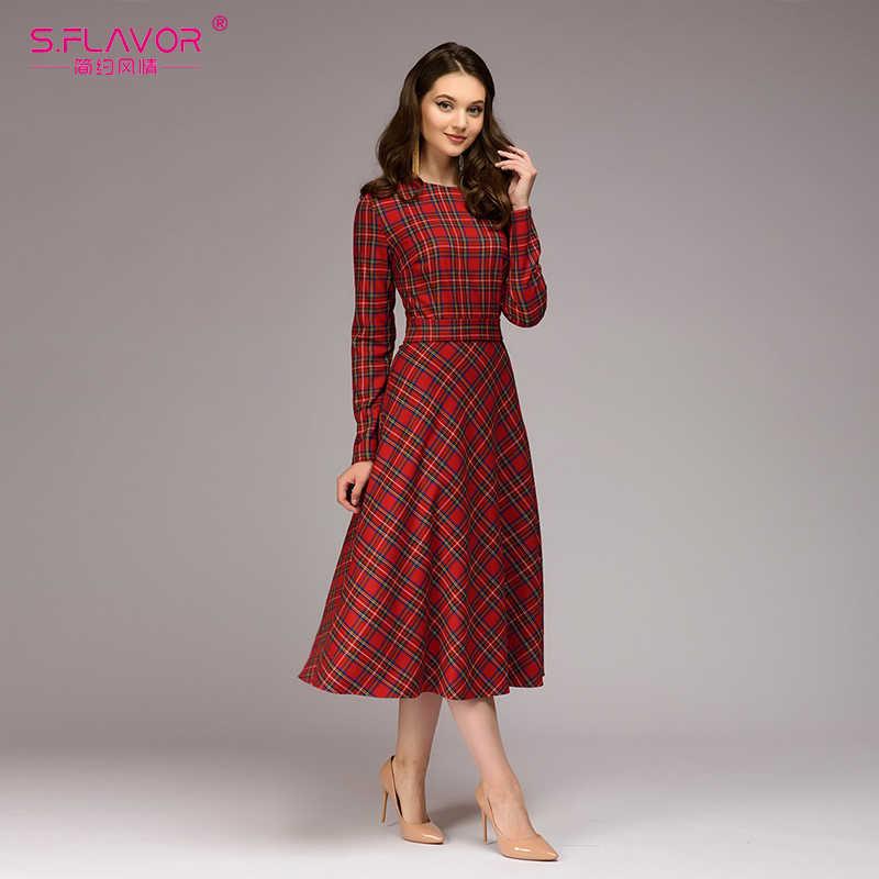 S. FLAVOR женское Красное Клетчатое свободное платье 2018 горячая Распродажа винтажное длинное платье с круглым вырезом для женщин элегантное женское осенне-зимнее платье
