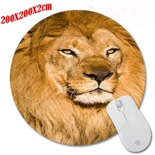 New Arrivals  Anti-Slip The lion  Animal Mouse Pad Round Shape Soft Silone Mousepad Desktop Pad Silone Mouse Mat for Optal