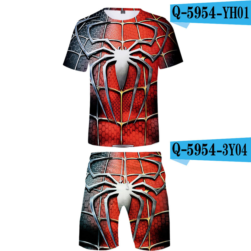 Spriderman Far From Home Men Sets Summer 2019 New Movie Printed Breathable Sweatsuits 3d Streetwear Spiderman Costume Suits