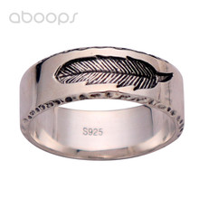 7mm Plain Solid 925 Sterling Silver Black Feather Band Ring Jewelry for Men Women Size 7 8 9 10 Free Shipping