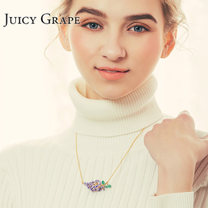 Image 2 - Collier en émail, raisin juteux, fait à la main, collier à fleurs de lavande dorée fraîche, Bijoux à la mode, cadeaux pour fille