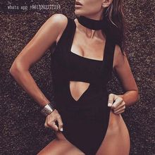 Babatique Celebrity White Khaki Black Hollow Out Rayon Bandage bodysuit Swimsuit Sexy