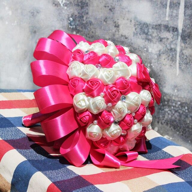 Ярко розовый шелковое свадебный букет искусственных роуз свадебные цветы кристалл невесты брошь проведения цветок бесплатная доставка