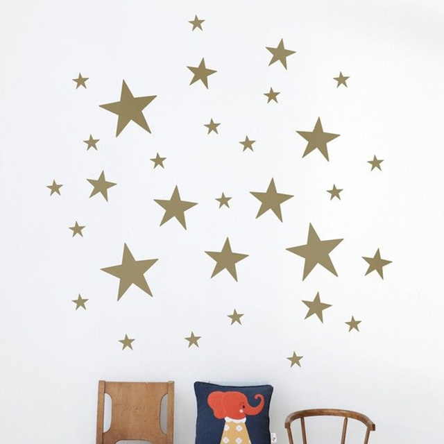 Mixed Size Easy Apply Removable Starry Stars Wall Sticker For Kids Room Decor Easily Removable Waterproof Decor Decal #87379
