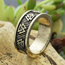 Viking Valknut Rune Rings Men women Nordic Anel Bague Jewelry Wedding Ring 1pc Dropshipping(China)
