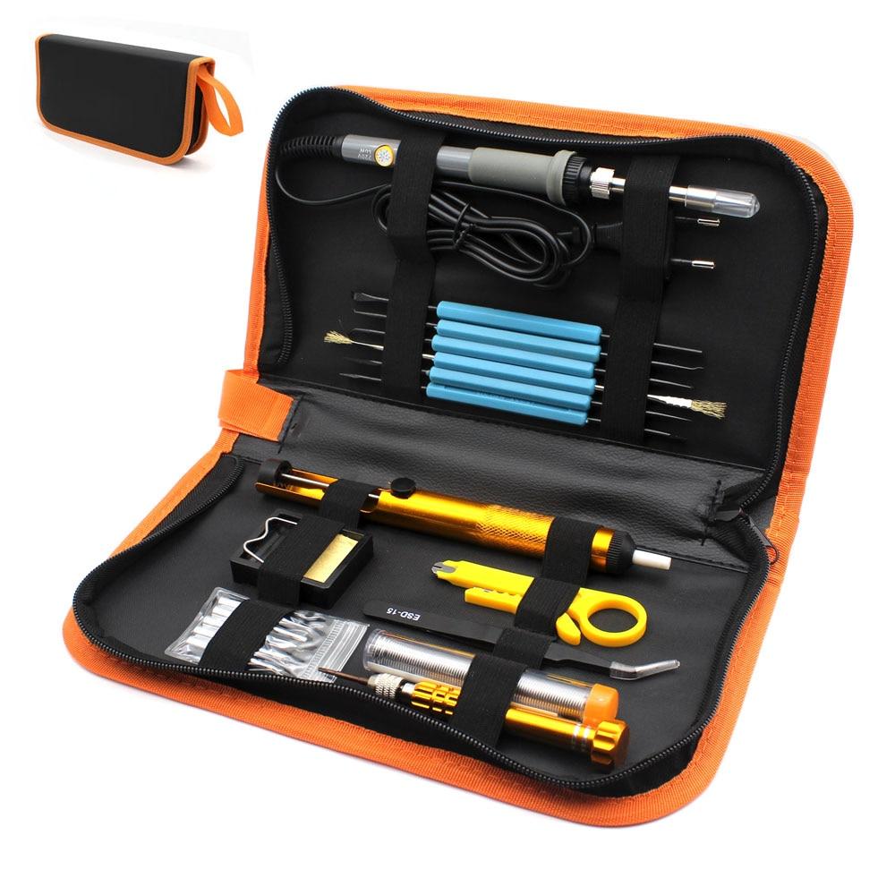 Eu Plug 220v 60w Adjustable Temperature Electric Soldering Iron Kit+5pcs Tips Portable Welding Repair Tool screwdriver SolderTin
