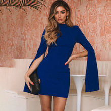 1 Piece Round Collar Backless Wrap Bodycon Dress For Woman Elegant Long Slit Sleeve Open Back Mini Party Clothings