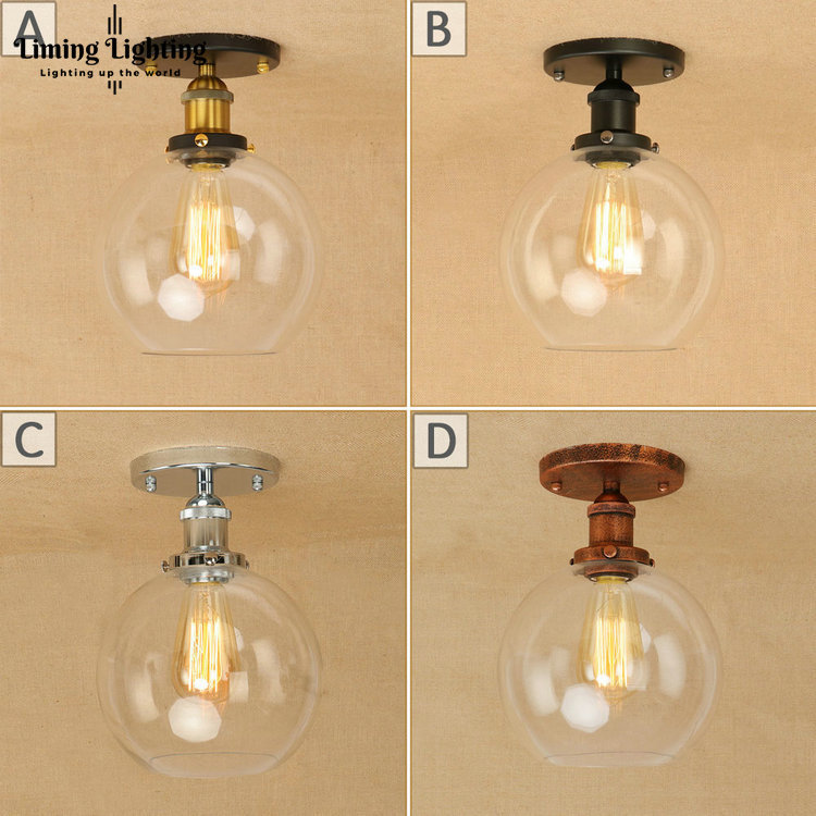 Vintage Loft Industrial Ceiling Lights Black/Gold/Rust Bar Stair Dining Room Glass Ball Shade Ceiling Lamp Fixtures free shipping vintage loft industrial pendant lights gold bar stair dining room glass shade retro lindsey pendant lamp fixtures