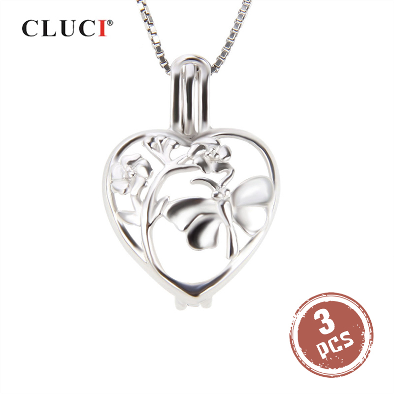 CLUCI 3pcs Silver 925 Heart Shaped Charms Pendant For Women Necklace Jewelry 925 Sterling Silver Butterfly Pearl Locket Pendant