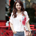 2016 summer summer women loose women chiffon blouse and women short sleeve chiffon blouse size shirt