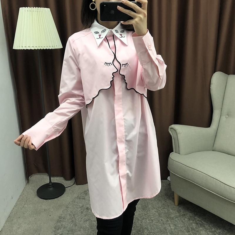 Printemps Rose Kitty Filles Femmes Longues 2019 Blanc Chemises Mignon Casual Nouvelle Chemise Visage Rose Coton Broderie Chat Asymétrique blanc À Manches rfSqSawHY
