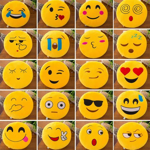 New Smiley Face QQ Emoji Pillows Soft Plush Emoticon Round Cushion Home Decor Cute Cartoon Toy Doll Decorative Throw Pillows 2