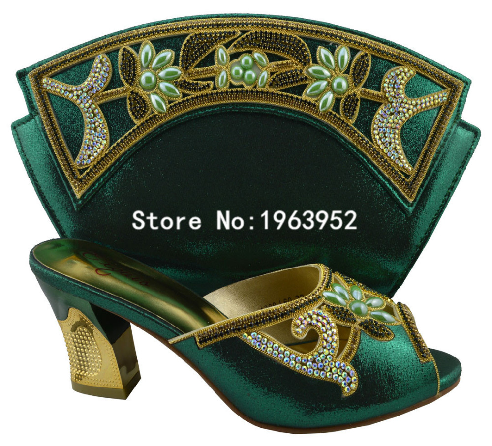 ФОТО Nigeria green with 2016 Newest design,1308-L60 African Luxury High Heels Matching Bag Italian Shoes And Bags Series For Woman.
