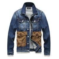 European American Style men Badge denim jacket brand luxury men Outerwear & Coats black blue denim jacket slim jacket for men