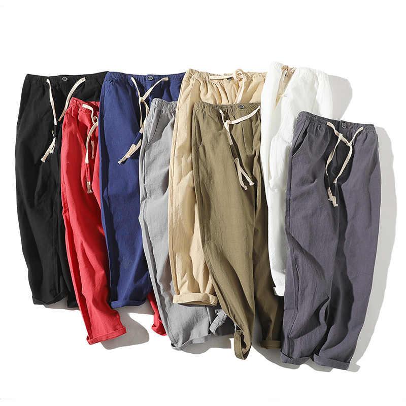 2019New wysokiej jakości męska lato dorywczo spodnie bawełniane naturalne lniane spodnie białe lniane elastyczny pas proste człowieka spodnie