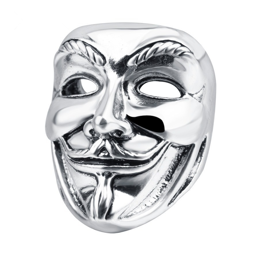 2017 New Male V For Vendetta Mask Ring Antique Silver Chunky Rings Vintage  Punk Jewelry Wholesale Men Movie Guy Fawkes Ring