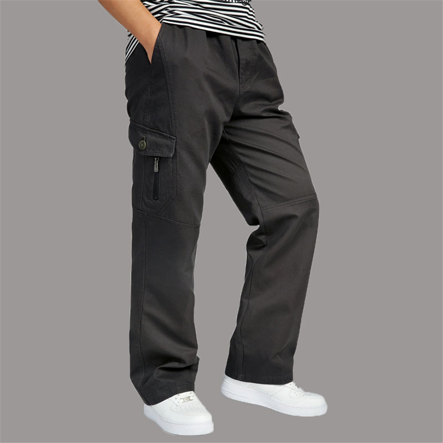 ROSICIL Mens Cargo Pants Cotton Wide Leg Pocket Side Zipper Hip Hop Harem Pants Casual M ...