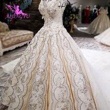 AIJINGYU فستان الزفاف بأسعار معقولة أثواب الزفاف الدانتيل مع قطار طويل خمر العاج ثوب الزفاف فساتين