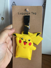 2018 Trolley Pikachu Luggage Tag Silica Gel Suitcase Id Address Holder Baggage Boarding Tags Portable Label Anime Cute Labels(China)
