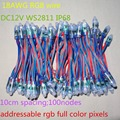 18AWG wire 100pcs/string DC12V 12mm WS2811 addressable RGB led smart pixel node,RGB wire,IP68 rated