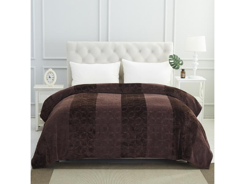 Plaid double KARNA, PALMA, 220*240 cm, Brown multi function check plaid pattern cashmere warm keep scarf light brown