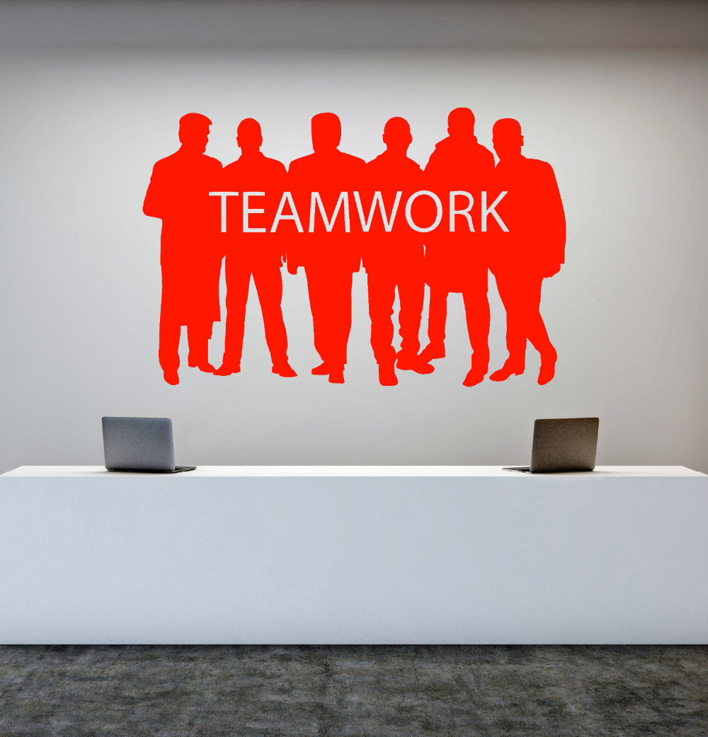 Motivational Word Stickers For Office Decoration Teamwork Vinyl Wall Decals Six Men Silhouette Art Stickers New Arrival ZB282