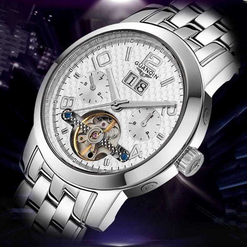 Casual Mens Watches Top Brand Luxury GUANQIN Tourbillon Automatic Mechanical Watch Sapphire Waterproof Watch relogio masculino