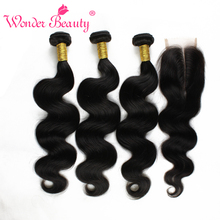 Malaysian Virgin Hair Body Wave With Lace Closure Queen Wonder Beauty Human Hair Weave With Closure