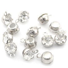 100Pcs Silver Tone Clear Rhinestone Charms Pendants Jewelry Component Findings 8x6mm(3/8x2/8)