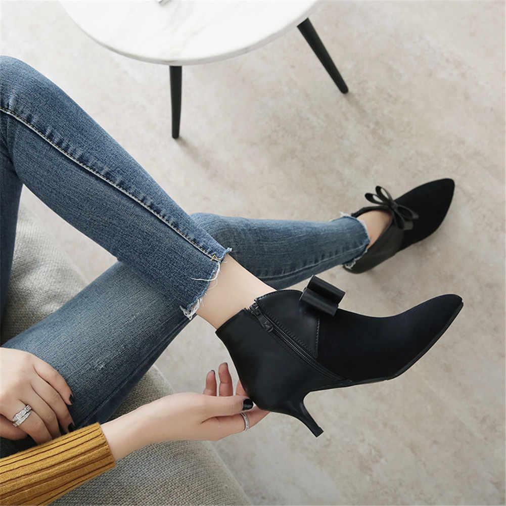 BONJOMARISA Artı Boyutu 31-45 Marka Yeni Ince Yüksek Topuklu Papyon Zip Ayakkabı Kadın Rahat Parti Kış Bahar yarım çizmeler siyah