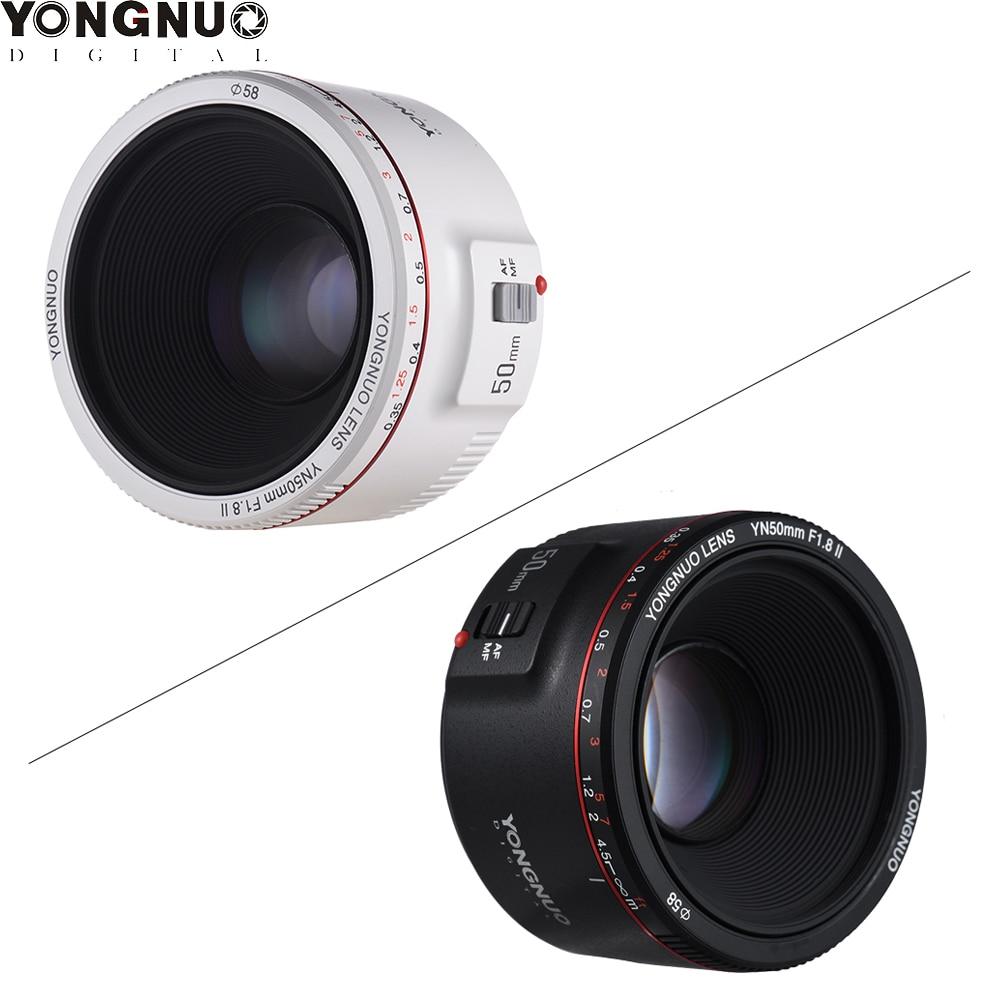 YONGNUO YN50mm F1 8 II Black White Prime Lens Large Aperture Auto Focus 0 35 Focal