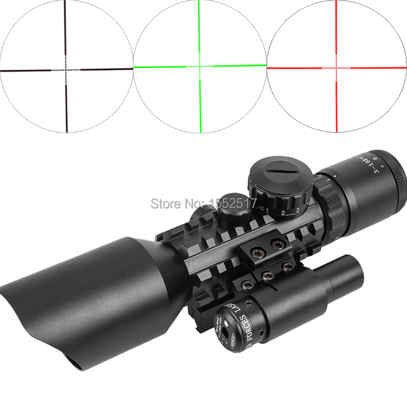 M9 3-10x42 Mil-Dot Reticle Red Green Dot Sight Rifle Scope With Red Laser Airsoft Caza 20mm 11mm Mount Rail Mira Para compact m7 4x30 rifle scope red green mil dot reticle with side attached red laser sight tactical optics scopes riflescope
