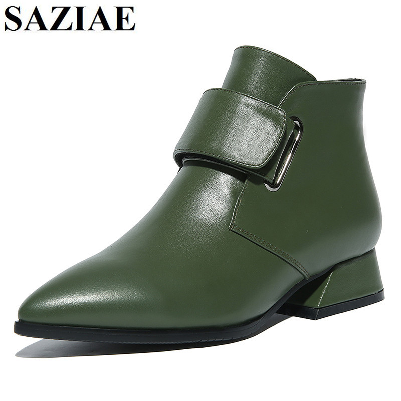 [SAZIAE]Hot  Sales Fashion Autumn Winter Shoes Woman Boots Low Heels Shoes Woman Fashion Sexy Genuine Leather Ankle Riding Boots цены онлайн