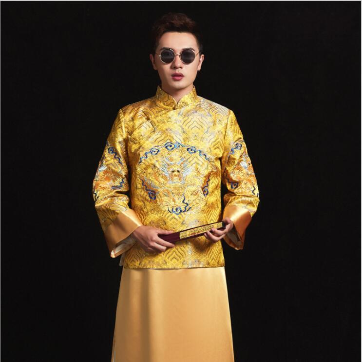 Asiatique Photo studio thème de mariage vêtements Xiuhe hommes Tang Robe jaune Dragon brodé Robe chinoise marié vêtements anciens