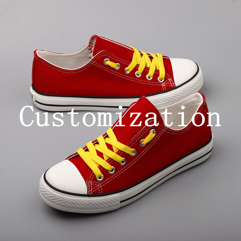Fashion Printed College Students Fans Canvas Shoes Customized Low Top Casual Flats Designer Team Logo Tenis