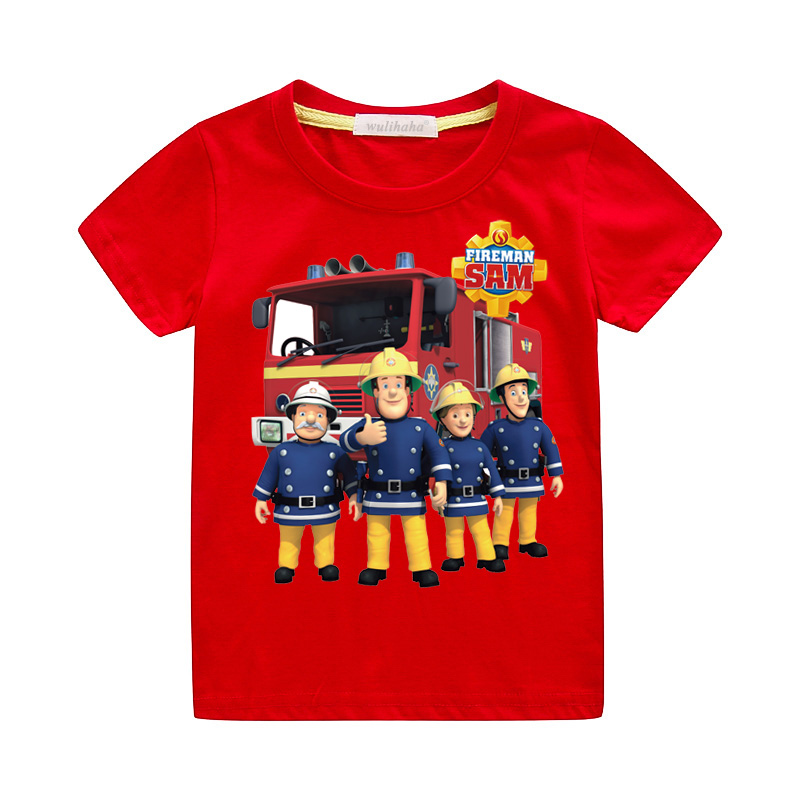 Child Boys Girls Cartoon Fireman Sam T-shirts Kids Short Sleeve Tshirts Kids O-Neck Summer Tees Top Costume Baby Clothing ZA074(China)