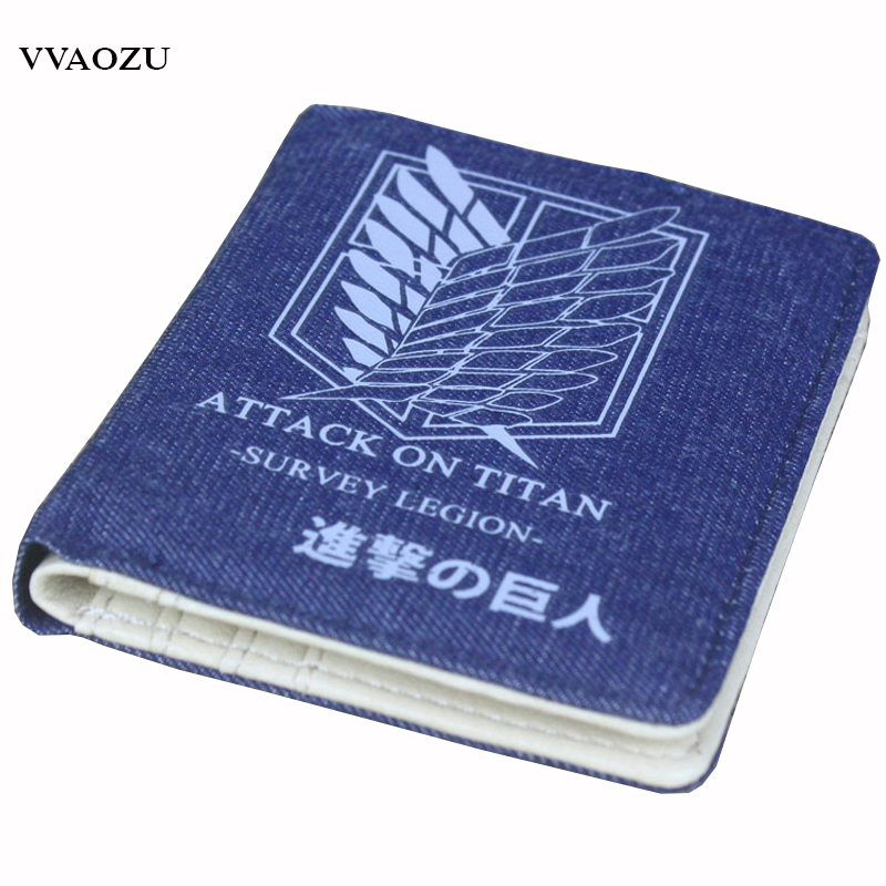 Anime Attack on Titan Assassination Classroom Gintama Hatsune Miku Cartoon Wallet Short Denim Purses with Card Holder for Kids japanese anime poke death note attack on titan one piece game ow short wallet with coin pocket zipper poucht billetera
