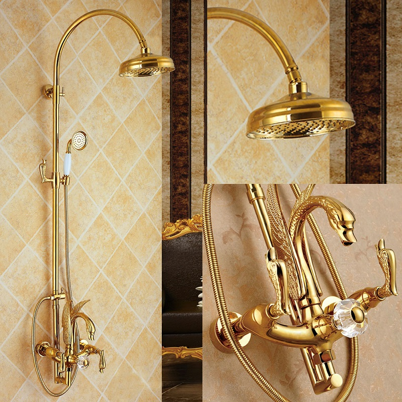Luxury All Copper Golden Swan Shower Set Hot And Cold Water Three Function Bathroom Shower Set Swan Golden Unique Desgin