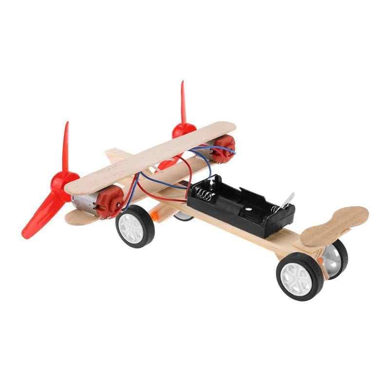 طفل الطائرات اللعب التوأم شفرات الكهربائية التزلج الطائرات كيت لعبة طائرة DIY نموذج للعلوم التجريبية التعليمية التعلم