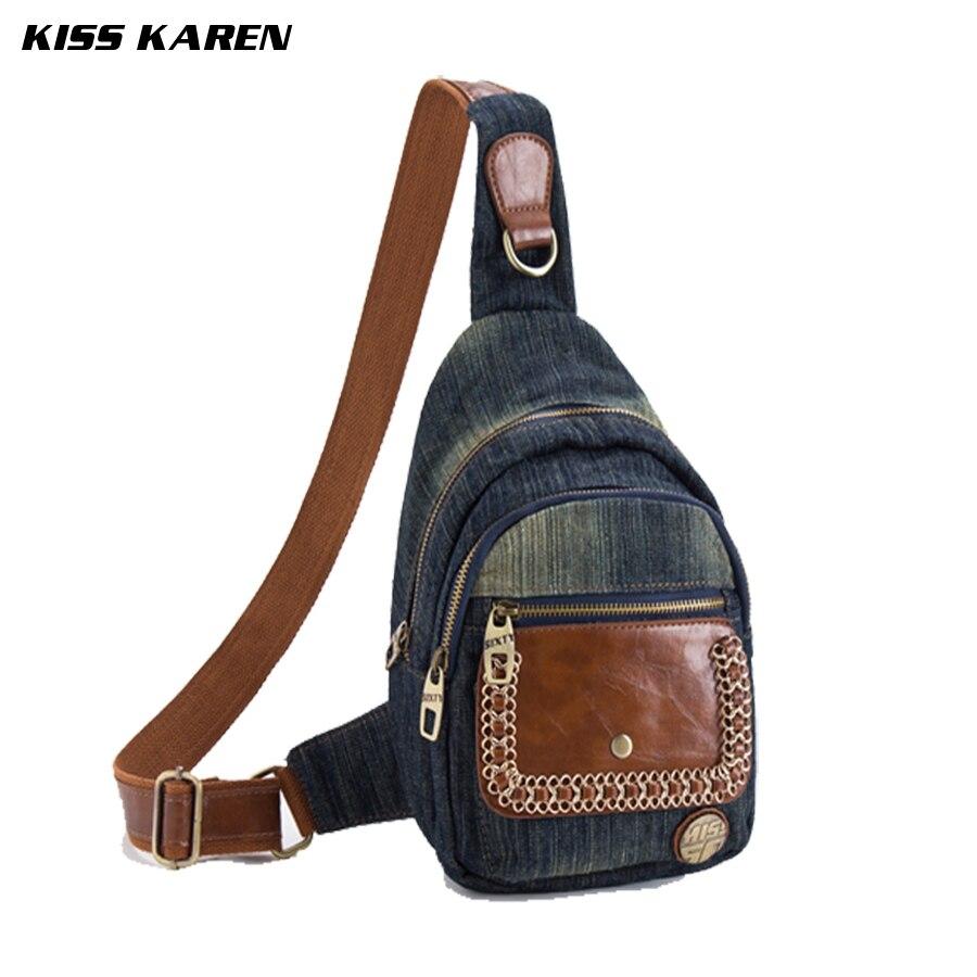 ФОТО KISS KAREN Vintage Fashion Style Denim Chest Bag Women Backpacks Jeans Backpack Casual Travel Bags Ladies Street Stylish Bag