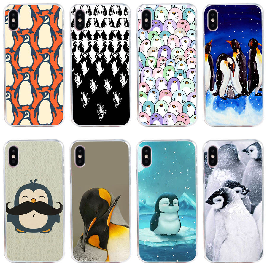 <font><b>30A</b></font> Penguin Party Soft Silicone Tpu Cover phone Case for iphone 5 <font><b>5s</b></font> se X XR XS Max case image