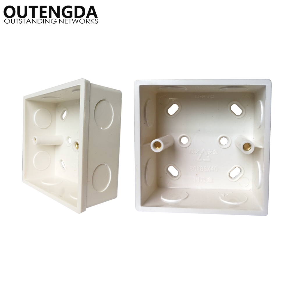 2Pcs Switch Panel Surface Mounted Square Corners Bottom Box 86 Type Wall Switch Socket Junction Box For Mount Wall Wireless AP