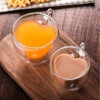 Drinking Glass Tea Cups Double Wall Layer Tea Cup Heat-resisting Creative Heart-shaped Double Glass Juice Mug Milk Coffee Cup