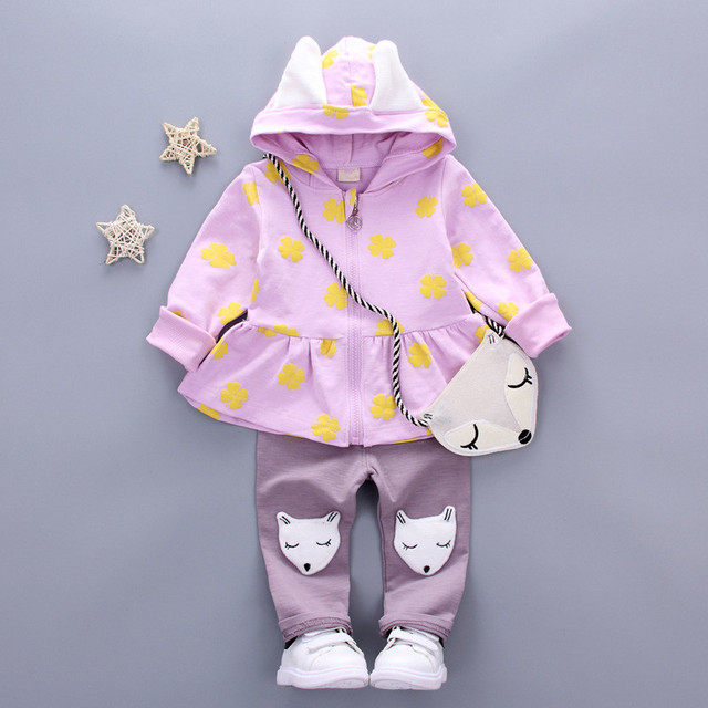 Baby Girl Clothes for Newborn Girls Clothing Set 2019 Spring Toddler Baby Girl Clothes Cartoon Jacket Pants 2pcs Kids Outfit