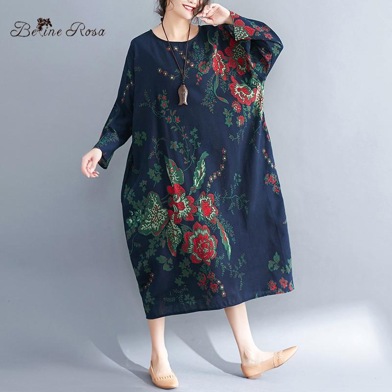 Women\'s Plus Size Dresses Spring Style Vintage Floral Printing Cotton Linen  Big Size Female Dress