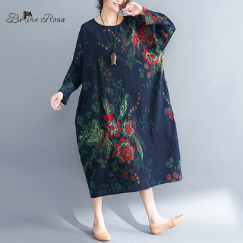 Women's Plus Size Dresses Spring Style Vintage Floral Printing Cotton Linen Big Size Female Dress 1
