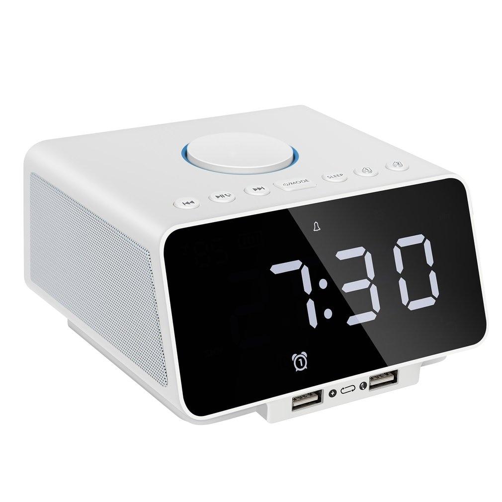 Radio réveil numérique avec haut-parleur USB charge Snooze AUX TF carte jouer thermomètre Radio FM