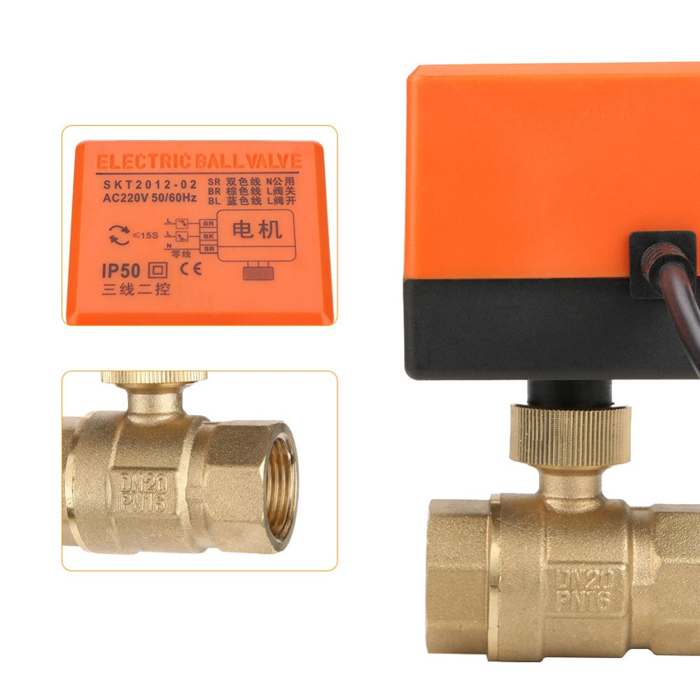 Clearance SaleElectric Actuator Thread-Ball-Valve Water-Gas-Oil Motorized Brass DN20/DN25 220V 2-Way